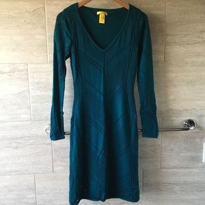 Soft wool pointelle knit dress in teal